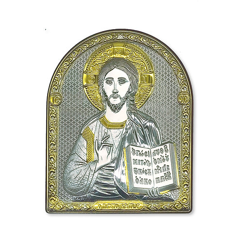 """Icona Ortodossa in Bilaminato Argento e Oro, """"Cristo Pantocratore"""""""