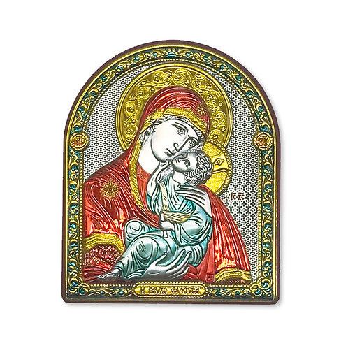 """Icona Ortodossa in Bilaminato Argento, Oro, Rosso e Blu, """"Madonna di Vladimir"""""""