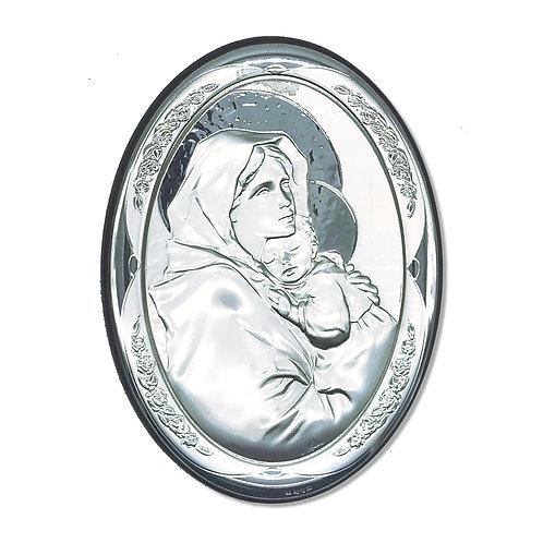 """Quadro Ovale in bilaminato Argento """"Madonna del Ferruzzi"""""""
