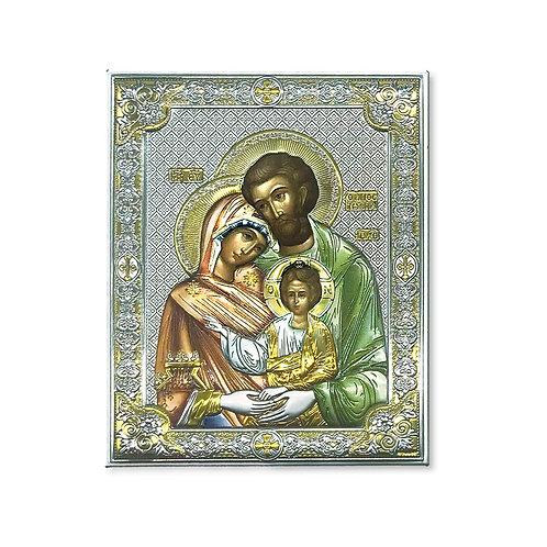 """Icona Ortodossa in Bilaminato Argento, Multicolor e Oro, """"Sacra Famiglia"""""""