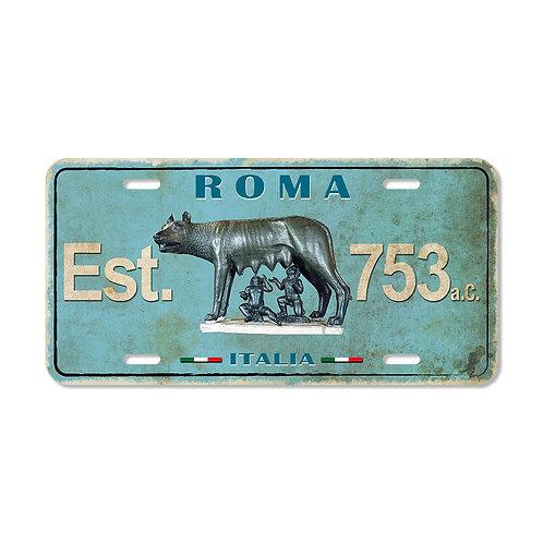 """Targa in metallo Vintage """"Roma - La Lupa"""""""