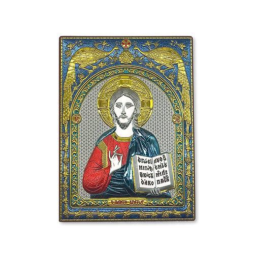 """Icona Ortodossa in Bilaminato Argento, Blu, Rosso e Oro, """"Cristo Pantocratore"""""""