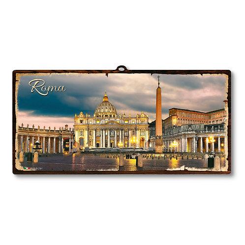 """Targa in legno Vintage """"Roma - San Pietro"""""""