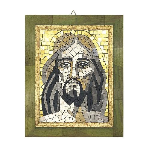 """Mosaico """"Volto di Cristo"""" di smalti Veneziani, marmi policromi e oro"""