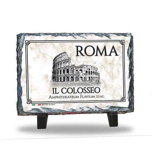 """Quadretto in Ardesia da tavolo """"Roma - Il Colosseo"""""""