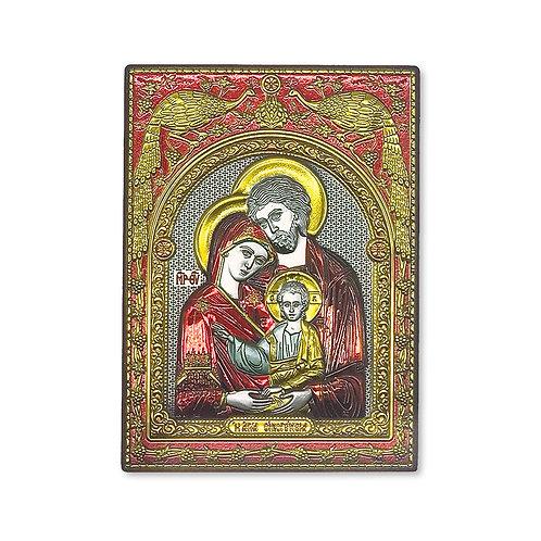 """Icona Ortodossa Bilaminato Argento, Oro e Rosso, """"Sacra Famiglia"""""""