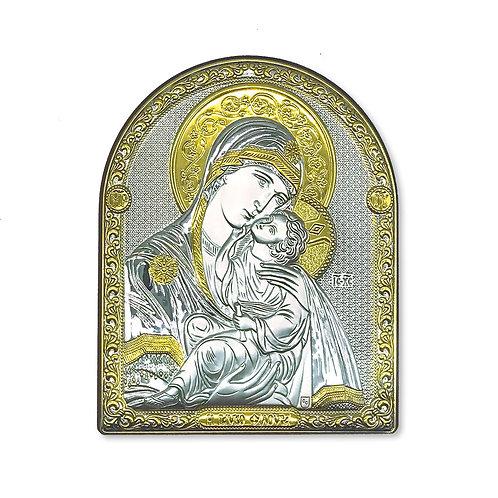 """Icona Ortodossa Bilaminato Argento e Oro,  """"Madonna di Vladimir"""""""