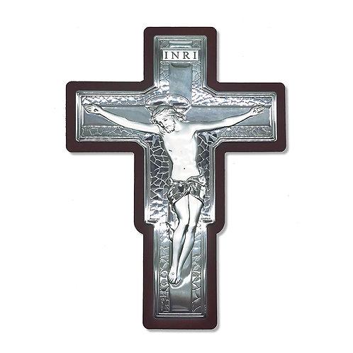 """Crocefisso in Bilaminato Argento con cornice in legno """"Croce  San Damiano"""""""