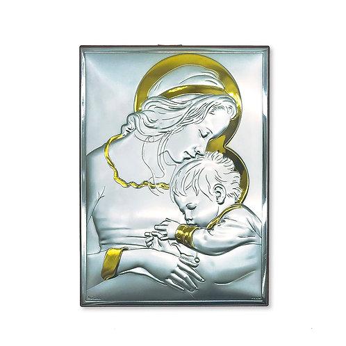 """Quadro in bilaminato Argento e Oro, """"Madonna con Bambino"""""""