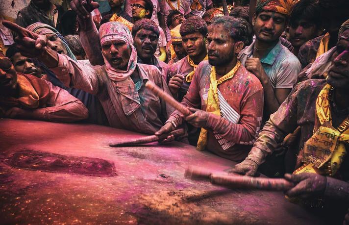 Drummer of Holi Festival in India