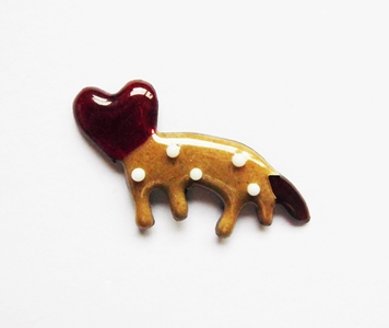 "//七宝焼き//""Love beast""brooch pin."