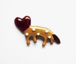 """//七宝焼き//""""Love beast""""brooch pin."""