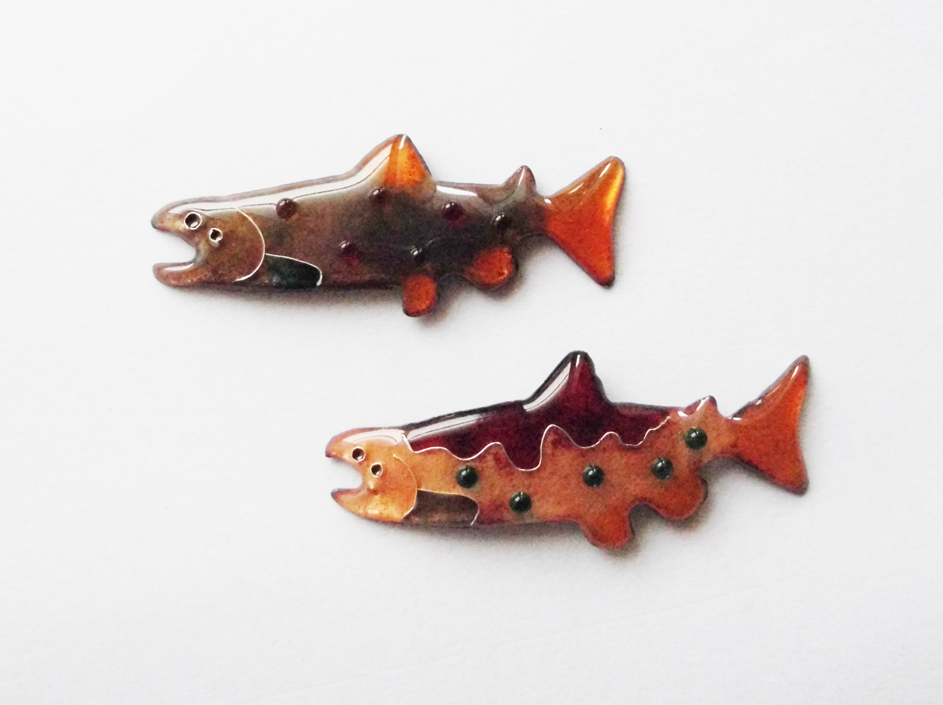 Salmon brooch pins