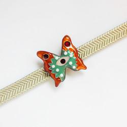 //七宝焼き帯留め//Devil's Butterfly