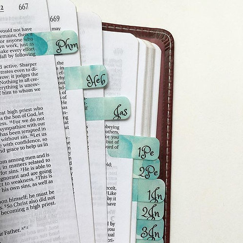 Mini Bible Tabs ~ Shades of Teal Watercolor Splash
