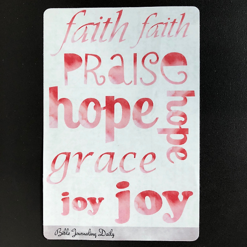 Transparent Bible Journaling Word Stickers ~ Bold Pink Watercolor