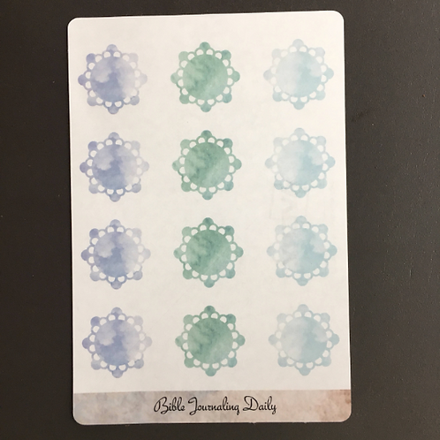 Transparent Doily Embellishment Stickers ~Watercolor Shades of Blue/