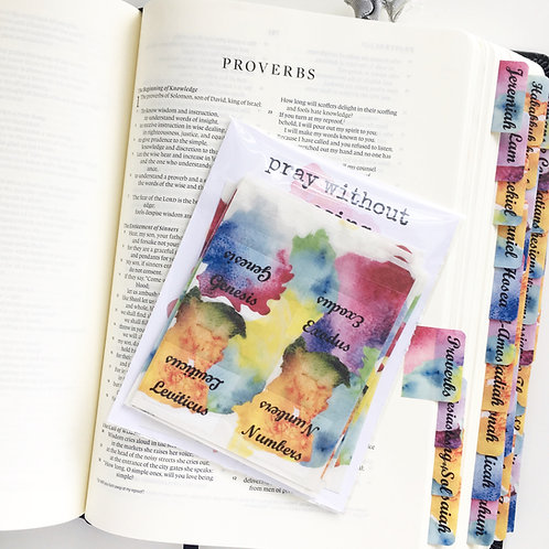 Bible Tabs Bold Multi Color Watercolor Splotch Tabs ~ Preprinted with adhesive ~