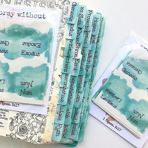 Bible Tabs Light Teal Blue Watercolor Spill Tabs