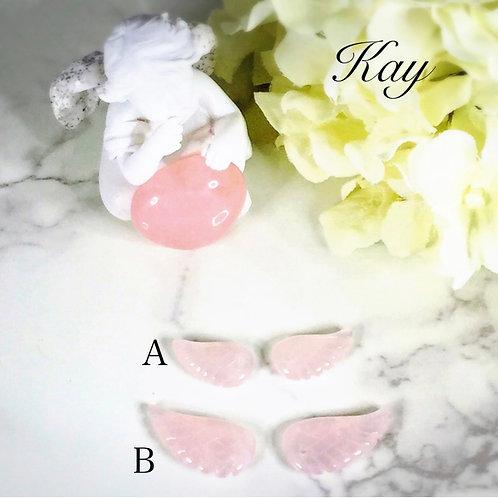 【ローズクォーツ】(B1粒) 天使の羽 パーツ