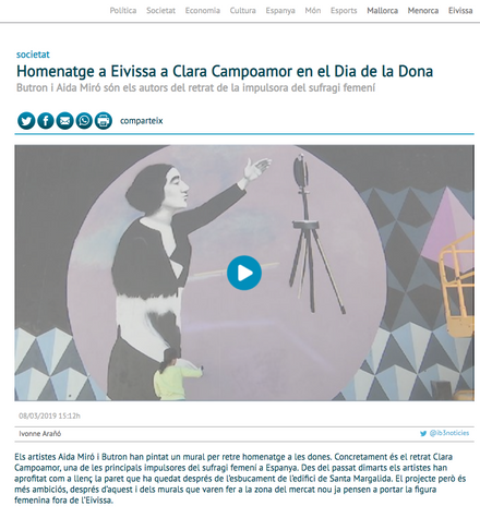 IB3 TV news. March 9, 2019. Mural tribute to Clara Campoamor for International Women´s day, Ibiza 2019