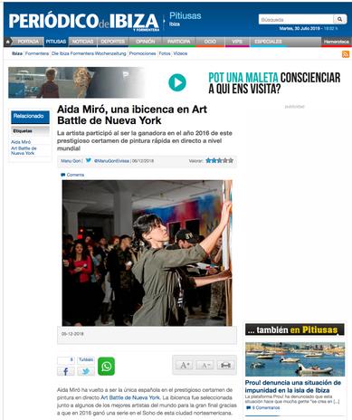 Periodico de Ibiza. December 6, 2018. Ibizan artist Aida Miró in Art Battle NYC