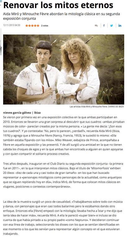 """Mitomorfosis"" with Minouche Fevre. Club Diario de Ibiza, November 2013"