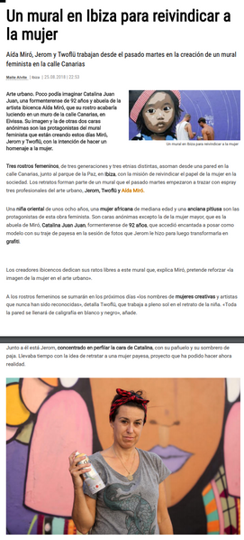 Diario de Ibiza. August 25, 2018. Mural tribute to women by Aida Miró, Jerom and Twoflu. August 2018.