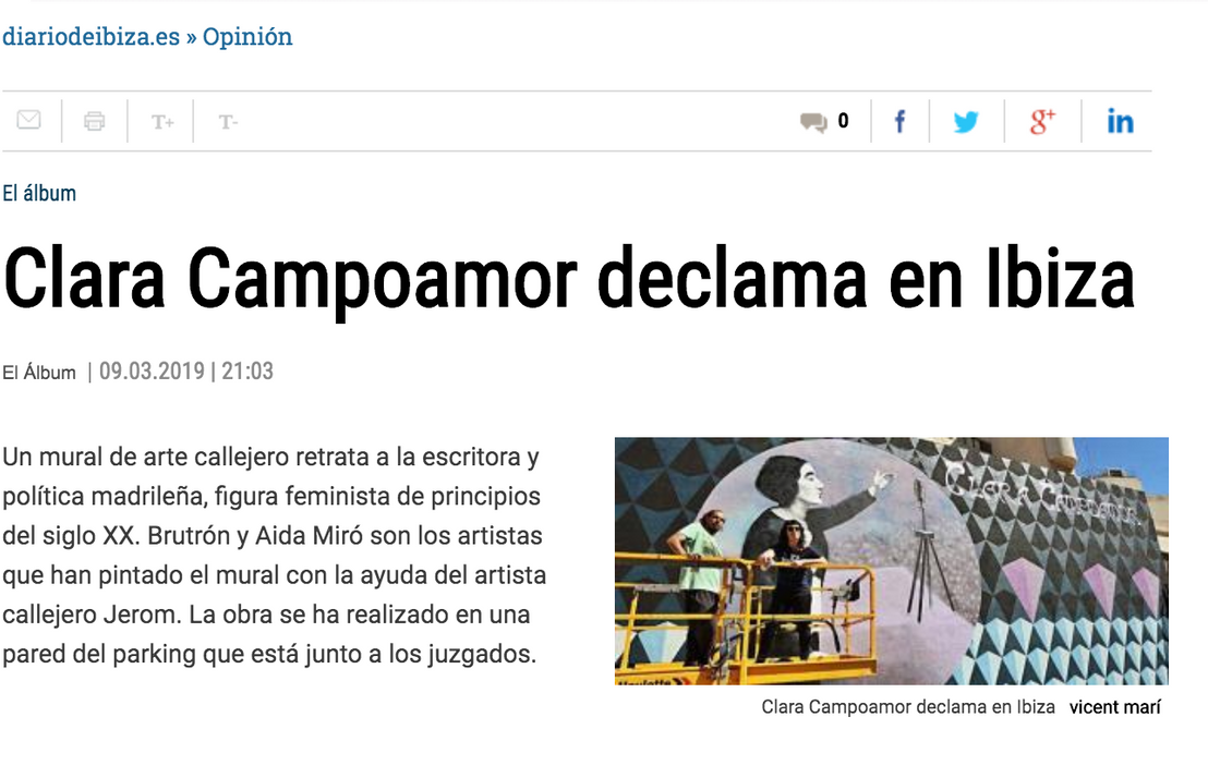 Diario de Ibiza. March 9, 2019. Mural tribute to Clara Campoamor for International Women´s day in Ibiza, Spain. March 2019. Mural collaboration with Butron.
