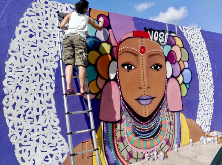 IB3 tv news. Mural tribute to women by Jerom, Twoflu and Aida Miró. Ibiza September 2018.
