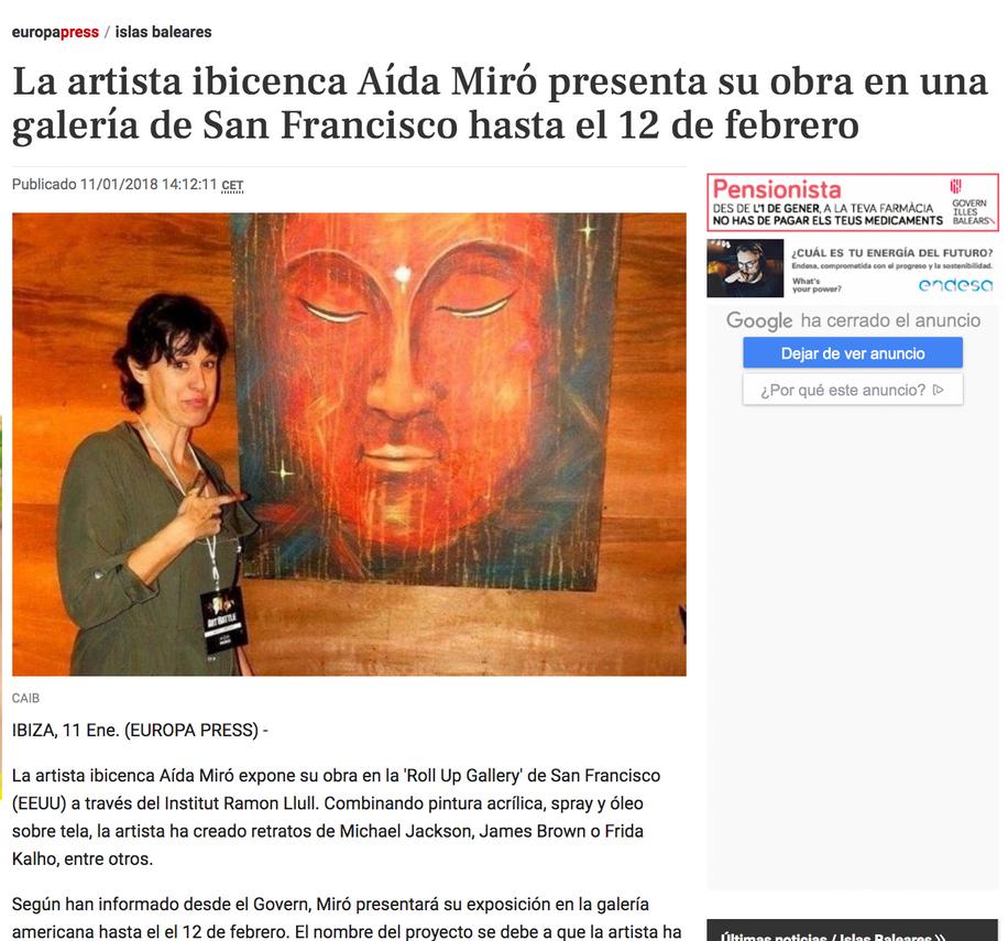 """Europa Press. January 11 2018. Solo show """"En vivo y en directo"""", Roll Up gallery San Francisco CA."""