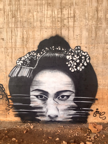 Sinking geisha. Spray paint on wall. 2x 2 meters. Ibiza 2017