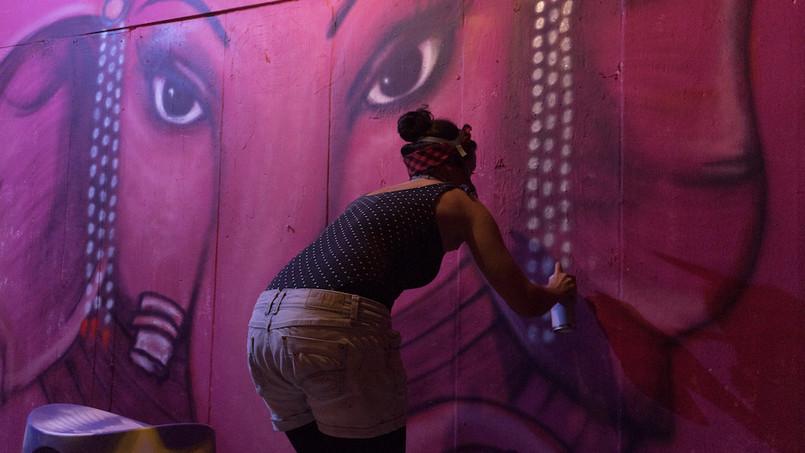 "Live painting ""Ganesh"" El Laboratorio Ibiza. August 2018."