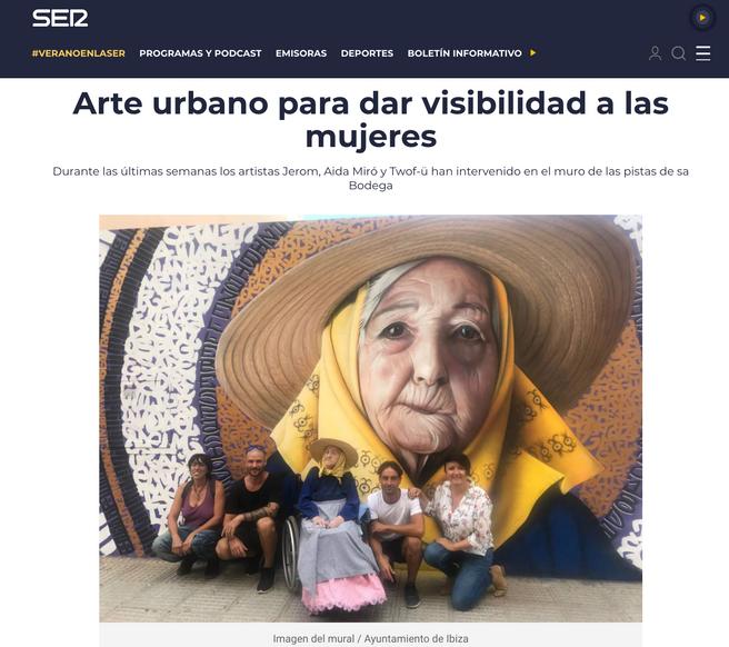 Cadena Ser Radio Ibiza. Mural tribute to women. Septiember 2018.