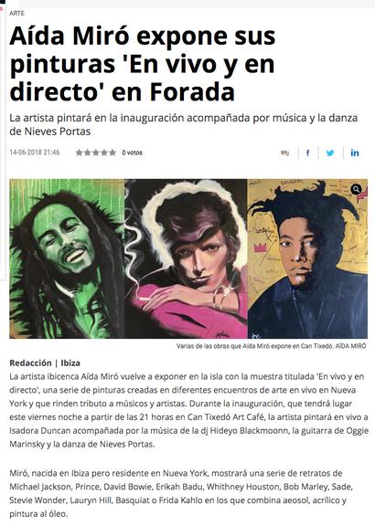 Diario de Ibiza. Exhibition and live painting Aida Miró. June 2018.