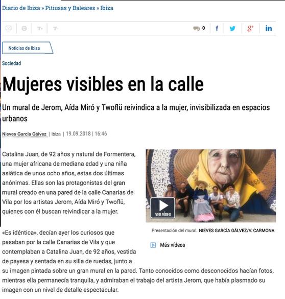 Diario de Ibiza. Mural tribute to women. Septiember 2019