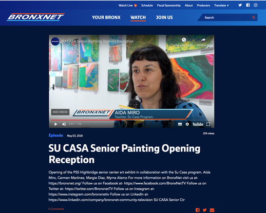 BronxNet TV news. May 3, 2019. SU CASA Program, teaching painting to seniors at PSS Highbridge, Bronx NYC