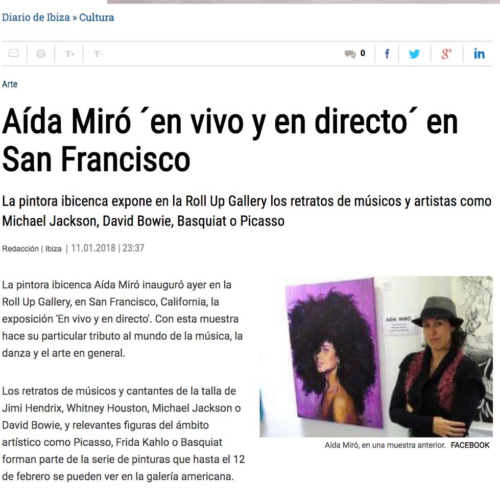 Diario de Ibiza. Aida Miró in Roll Up Gallery San Francisco. January 11, 2018