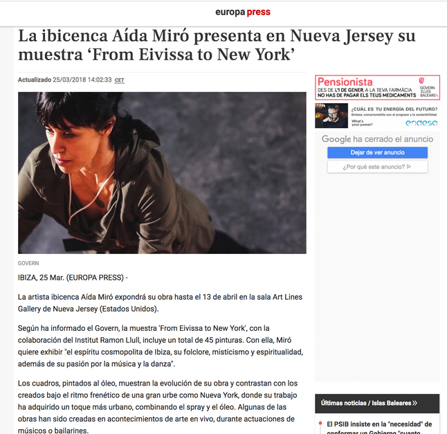 "Europa press. March 25, 2018. Solo show ""From Ibiza to NY"""