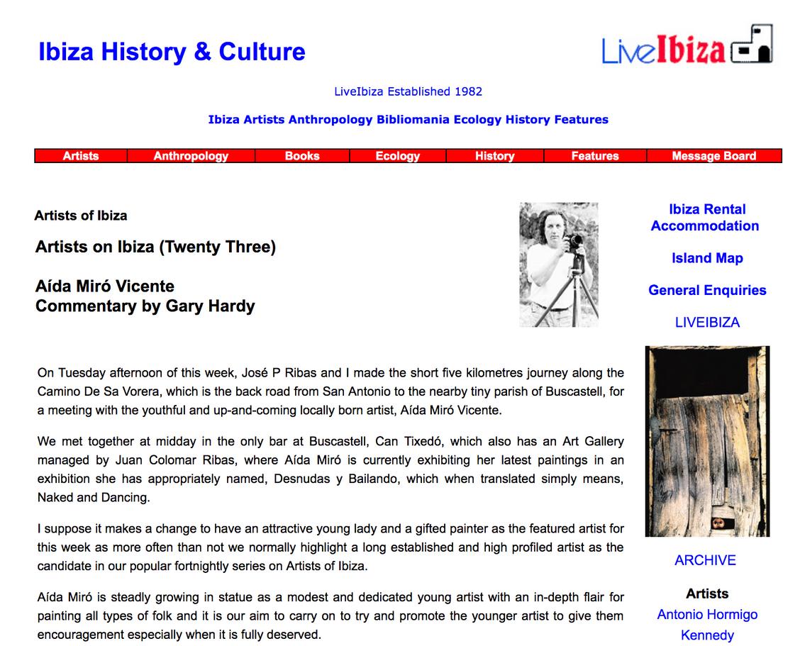Interview in Live Ibiza. Ibiza History & Culture. Artist of Ibiza: Aida Miró. 2002