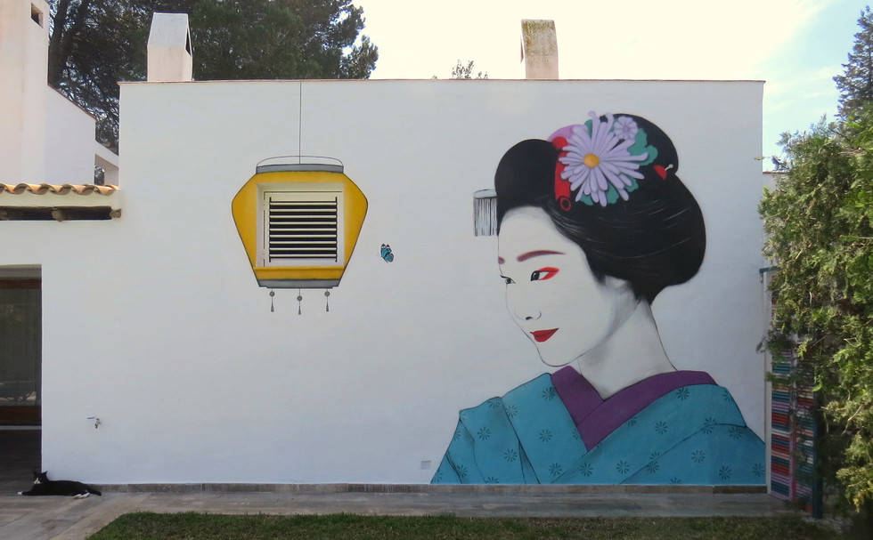 Geisha Can Miró. Spray paint on wall. 23x13 feet. 10x5 m. Ibiza April 2020