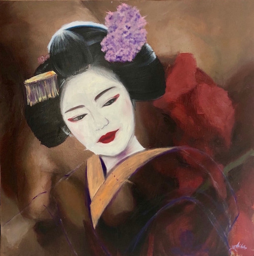 Geisha V. Oil on canvas. 90x90cm. NYC 2018. Price upon request