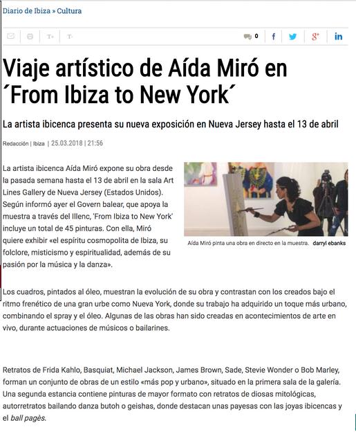 Diario de Ibiza. March 25, 2019. Solo show From Ibiza to New York.