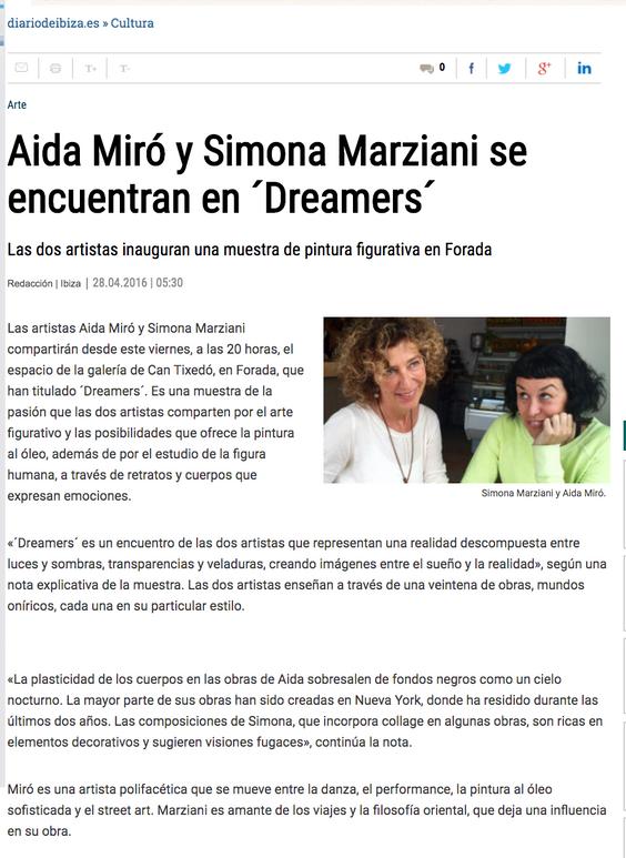 """Diario de Ibiza. """"Dreamers"""" with Simona Marziani. April 28, 2016"""