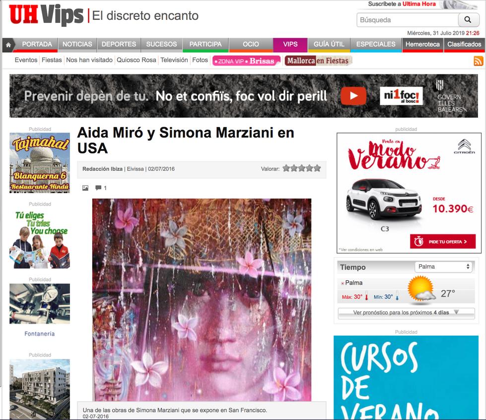 Ultima Hora Ibiza. Aida Miró y Simona Marziani en USA. July 2016