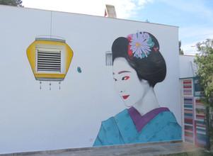 Geisha. Can Miró. Spray paint. 10x4 meters. Ibiza April 2020.