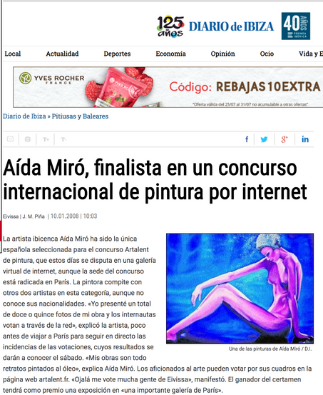 Diario de Ibiza. Aida Miró finalist for ARTALENT PARIS 2008