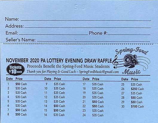 Lottery Calendar - November 2020