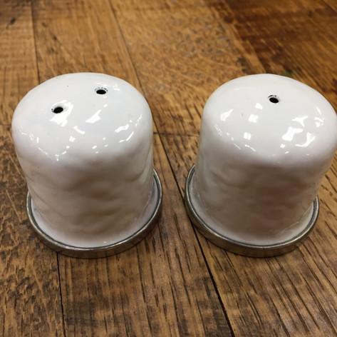 White Enamelware Salt and Pepper Shakers