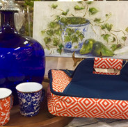 """Kathy Miller Original Oil Painting """"Ivy and Pears"""", Insulated Casserole Carrier - Orange and Blue, Enamelware Mugs - Orange and Blue, Hand Blown Cobalt """"Mega"""" Vase"""